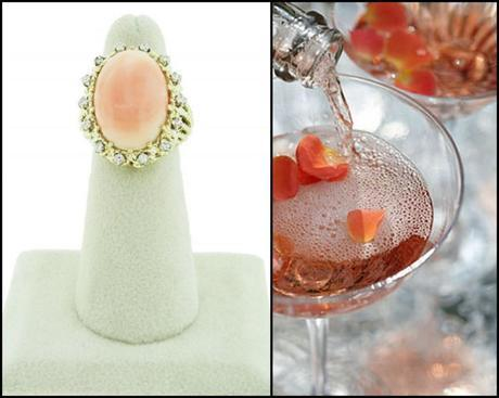 Rose Petal Champagne Cocktail Ring, roses, rose petals, cocktail, recipe, champagne, coral, cocktail ring, Raymond Lee Jewelers, Thirsty THursday