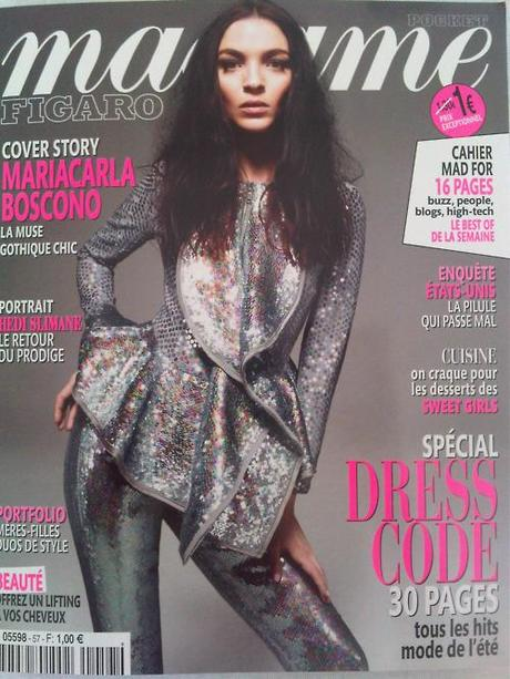 The cool cover of Madame Figaro this week, with Mariacarla Boscono. Loving the silver sparkles! xoxo LLM