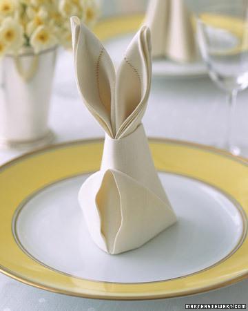 7 easy ways to fold cute bunny napkins for easter paperblog - Fold bunny shaped napkin ...