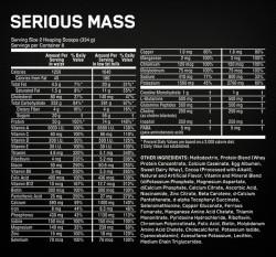 serious mass supplement facts