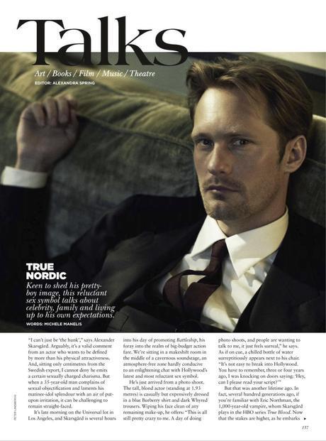 Alexander Skarsgård featured in May issue of Vogue Australia