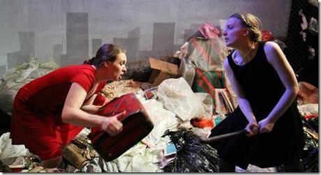 Elizabeth MacDougald as Becky and Jennifer L. Mickelson as Diane in Babes With Blades Theatre Company's production of TRASH. Photo by Johnny Knight!