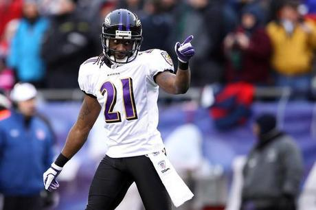 Lardarius Webb Lardarius Webb #21 of the Baltimore Ravens reacts after a play against the New England Patriots during their AFC Championship Game at Gillette Stadium on January 22, 2012 in Foxboro, Massachusetts.