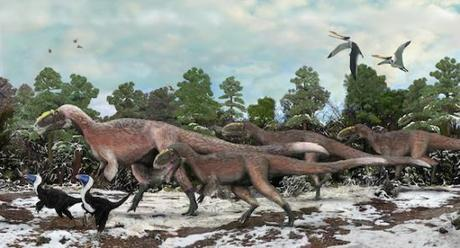 Artist impressions of the Yutyrannus and the Beiplasaurus: image via blogs.discovermagazine.com/