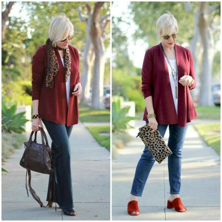 style blogger Susan B. still loves this russet red cardigan, purchased from the Nordstrom Anniversary Sale two years ago. Visit une femme d'un certain age for strategies on getting the most out of this sale.