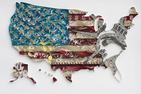 Quilled U.S.A. by Akiko Makihara