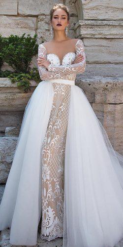 fall wedding dresses full lace long sleeves overskirt ida torez