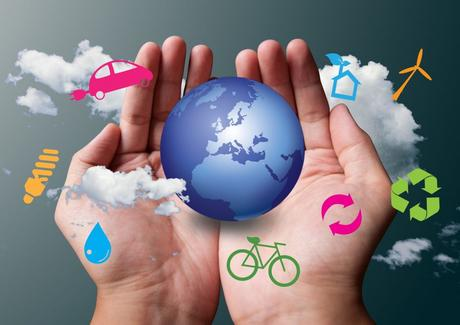 two hands save the earth white ecological