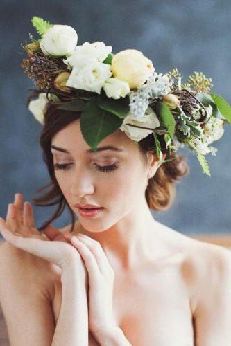 wedding hairstyles with flowers beatiful color halo bensasso