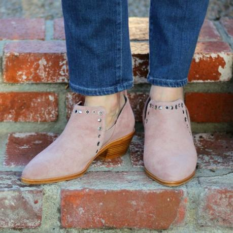 detail: style blogger Susan B. of une femme d'un certain age wears Rebecca Minkoff ankle boots from the Nordstrom Anniversary Sale.