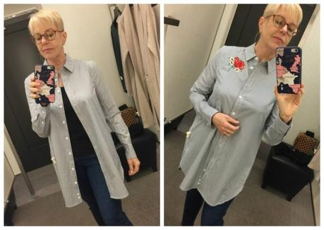 Susan B. of une femme d'un certain age tries on an Equipment embroidered tunic during the Nordstrom Anniversary Sale
