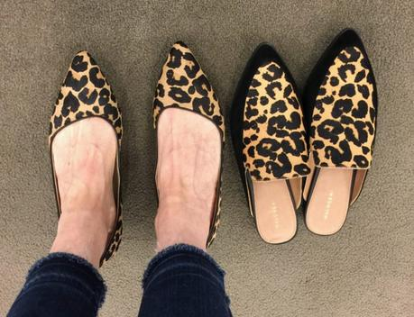 style blogger Susan B. tries on leopard print shoes from Cole Haan and Halogen at the Nordstrom Anniversary Sale