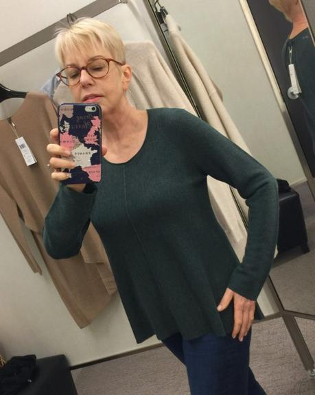 style blogger Susan B. tries on an Eileen Fisher merino wool sweater from the Nordstrom Anniversary Sale.