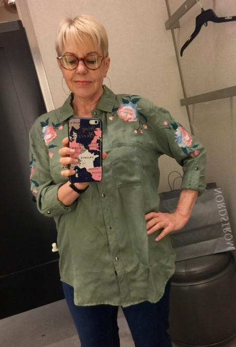 style blogger Susan B. tries on a Rails embroidered shirt from the Nordstrom Anniversary Sale