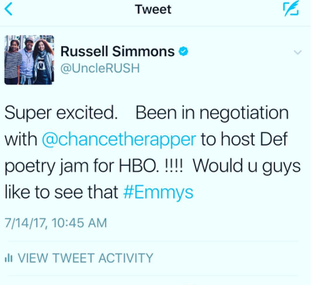 CHANCE THE RAPPER COULD BE TEAMING UP WITH RUSSELL SIMMONS FOR DEF POETRY JAM REBOOT