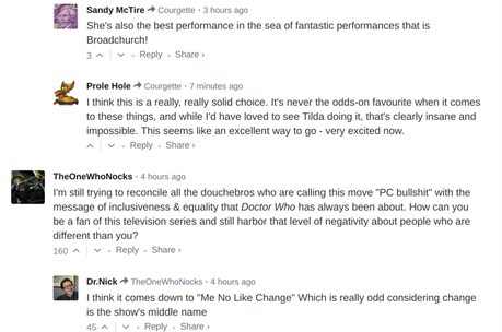 A Sampling of Internet Comments: Jodie Whittaker's Doctor Who Casting is as Polarizing as Expected