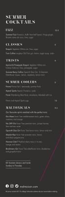 New Summer Menu and Cocktails at Chez Mal