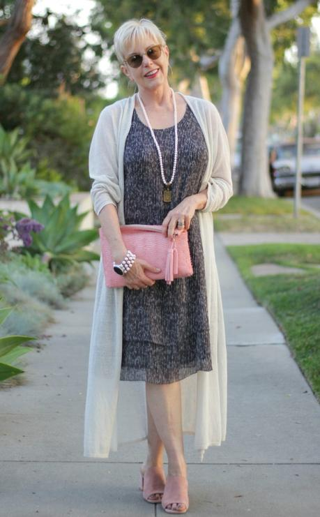 Style blogger Susan B. wears an Eileen Fisher silk dress and duster cardigan with Loeffler Randall clutch