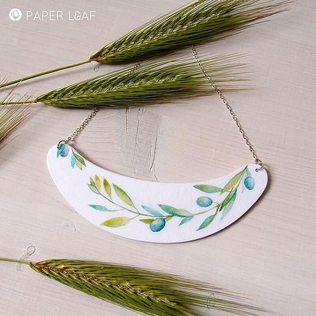 Handpainted Paper Necklace by Paper Leaf