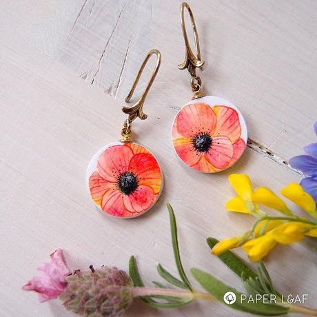 Handpainted Paper Earrings by Paper Leaf