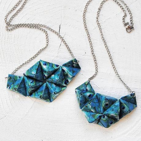 Origami Peacock Necklaces by Diffizil