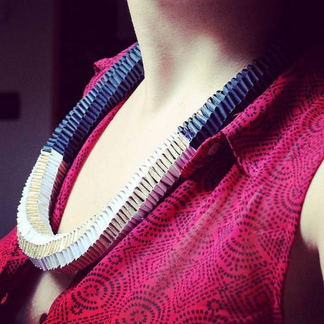 Woven Paper Necklace by Arual Dem