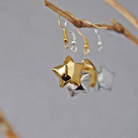 Folded Paper Star Earrings by Diffizil