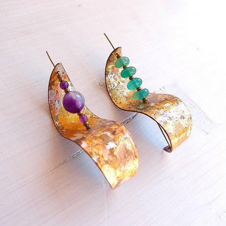 Paper Earrings with Beads by Paper Leaf