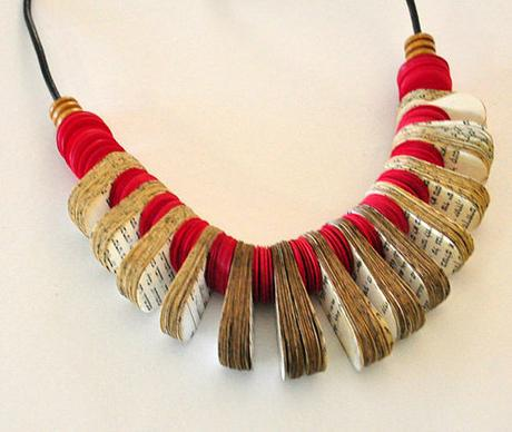 Oval Red Book Necklace by My Paper Tale