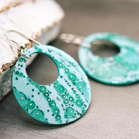 Green Dangle Paper Earrings by SC Studio