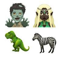 Apple emoji 2017 (zombie, elf, t-rex, zebra)