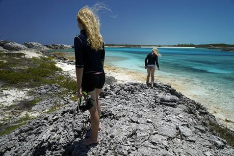 Girls hiking in the Bahamas
