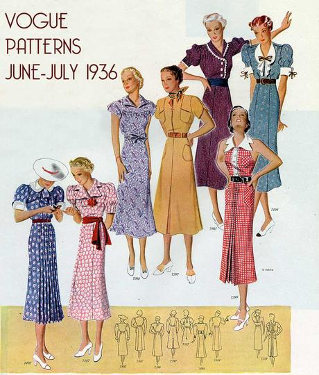 Vogue-Pattern-Book---JUne-July-1936---day-dresses