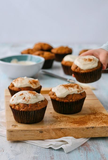 Date, Carrot and Apple Muffins with Cream Cheese Topping (No added sugar)