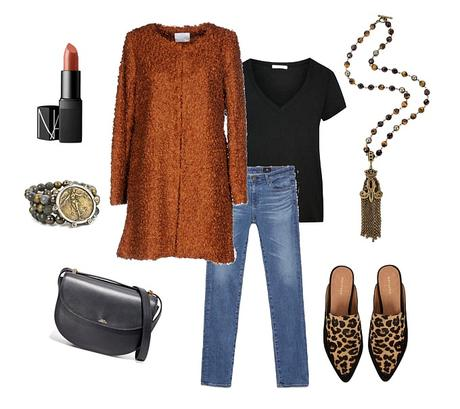 Casual outfit with fall colors: rust jacket, black tee, jeans, leopard flats and stone jewelry. Details at une femme d'un certain age.