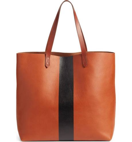 Madewell transport tote with stripe from Nordstrom Anniversary Sale. Details at une femme d'un certain age.