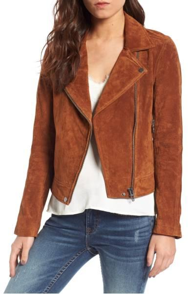 BLANKNYC suede moto jacket from Nordstrom Anniversary Sale. Details at une femme d'un certain age