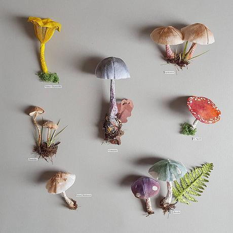 Paper Sculpture Mushrooms by Kate Kato