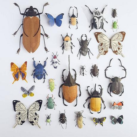 Paper Sculpture Insect Collection by Kate Kato