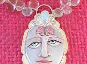 Polymer Clay Painted Face with Butterfly, Sterling Fl...