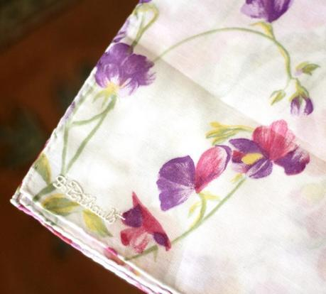 printed D. Porthault cotton handkerchief. Details at une femme d'un certain age.