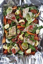 Fish with Vegetables Baked in Foil