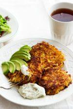 Rutabaga Fritters with Avocado
