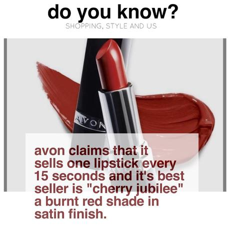 Do you know Avon sells 1lispticks every 15 seconds and its highest selling lipstick is..