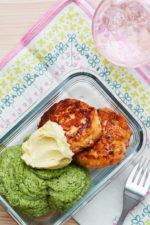 Salmon Burgers with Green Mash and Lemon Butter