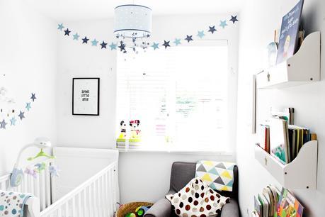 blue star nursery, modern baby nursery, baby room, minimal nursery, nursery ideas