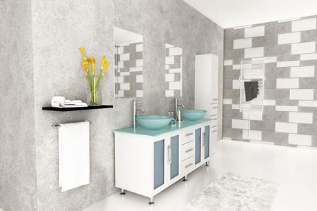 Double Lune white bathroom vanity with glass vessel sinks and top