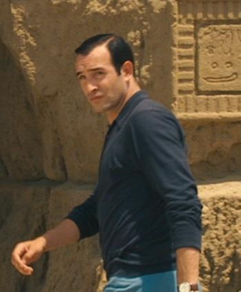 OSS 117's Black Polo Shirt and Blue Trousers