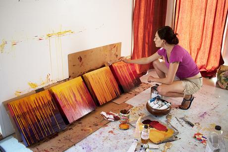Artist Cedar Lee working in the studio, July 2017