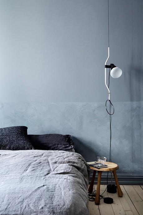 The Parentesi Lamp used as a bedside lighting in the bedroom   Elle Sweden